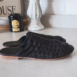 Black Leather Weaved Slides